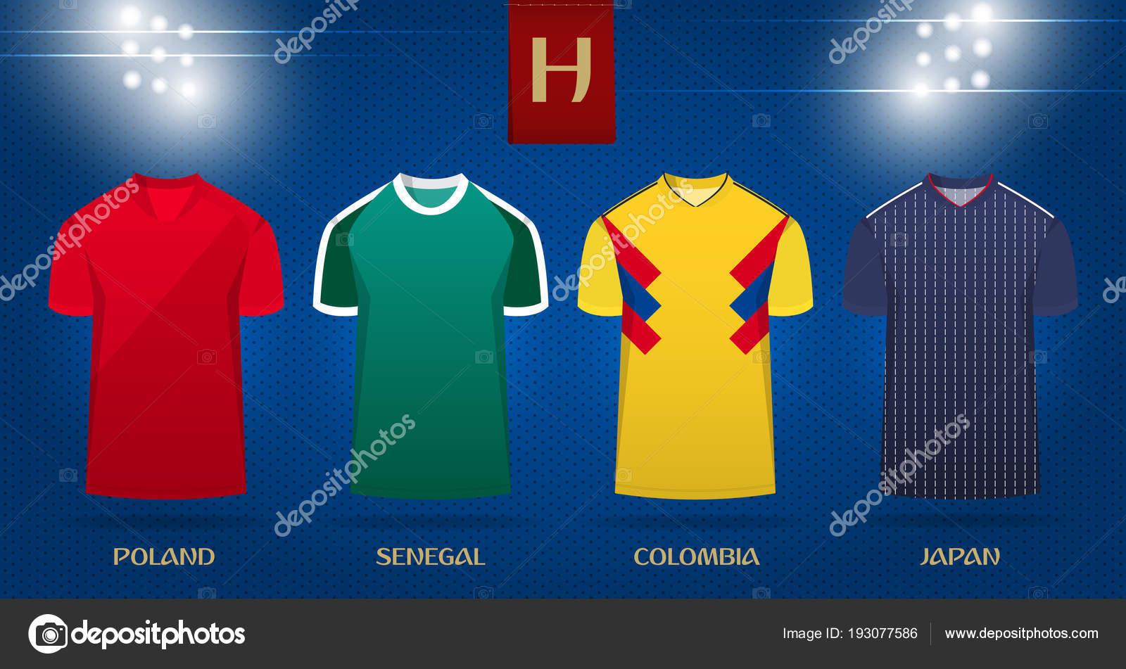 Fútbol kit o fútbol jersey diseño de plantillas para la selección de fútbol.  Frente vista fútbol uniforme mock up en fondo de punto. c80b4b7de7fdb