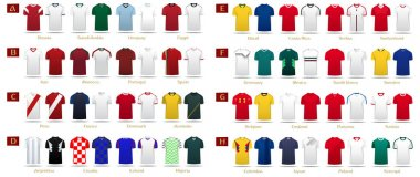 Soccer kit or football jersey template design for national football team. Home and Away soccer uniform in front view mock up. Football t-shirt for world soccer tournament. Vector