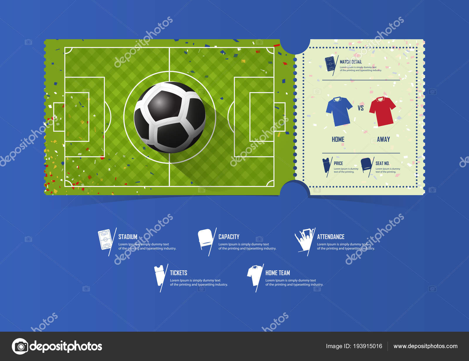 football or soccer ticket template design for sport match soccer