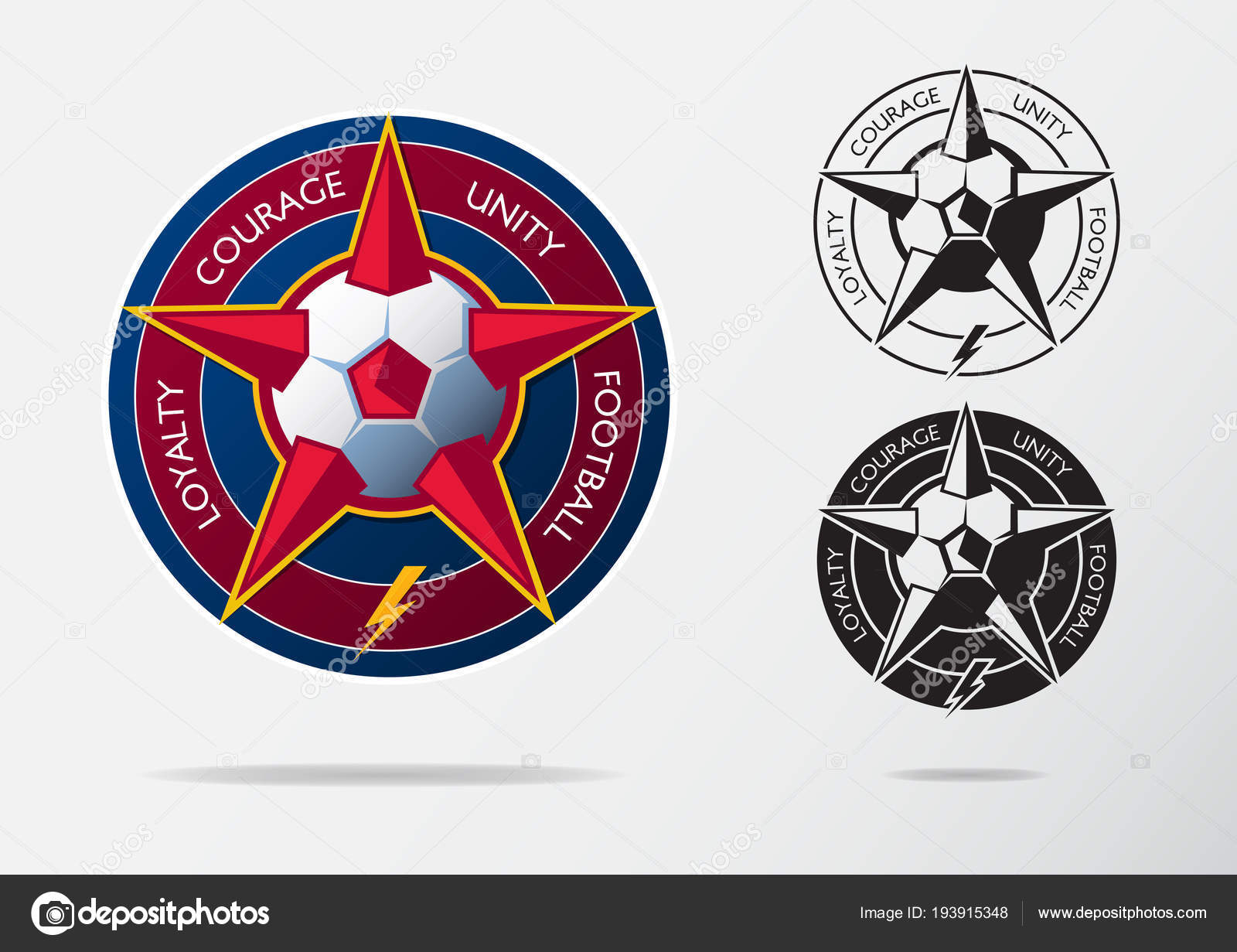 Soccer Logo Or Football Badge Template Design For Team Sport Emblem Of Red Star And White Ball On Navy Blue Shield