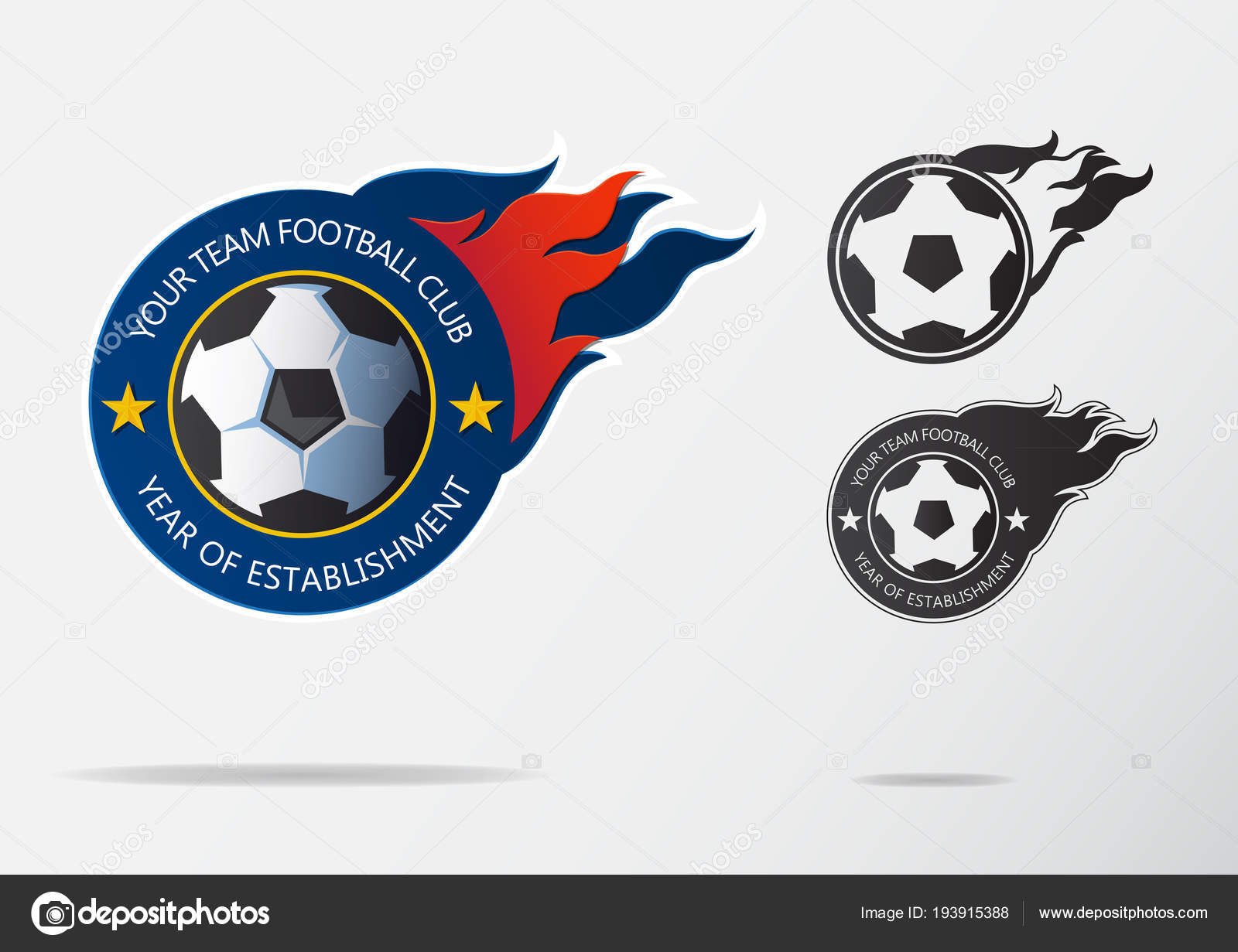 Soccer Logo Or Football Badge Template Design For Team Sport Emblem Of Black And White Ball On Navy Blue Shield With Fire