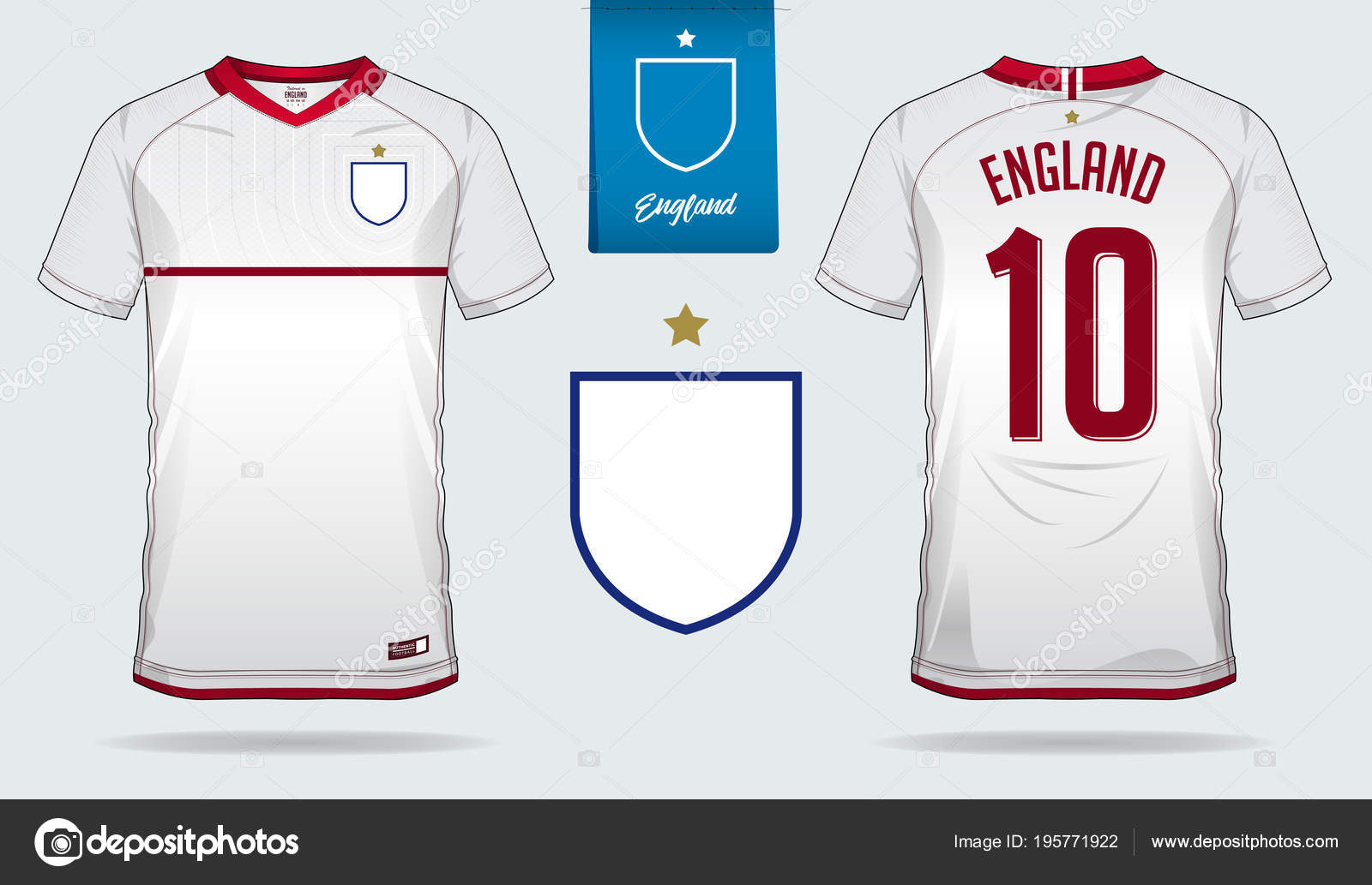 Set Soccer Jersey Football Kit Template Design England National Football —  Stock Vector 96106a1de