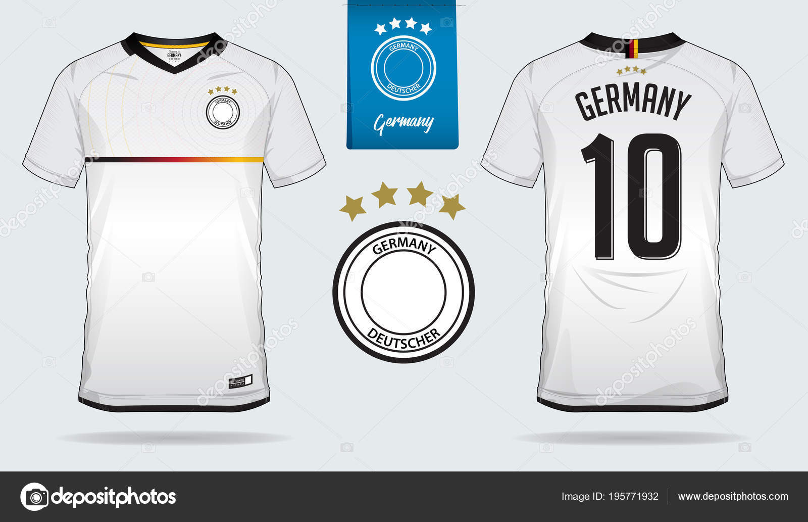 a29f44195 Set of soccer jersey or football kit template design for Germany national  football team. Front and back view soccer uniform. Football t shirt mock up.