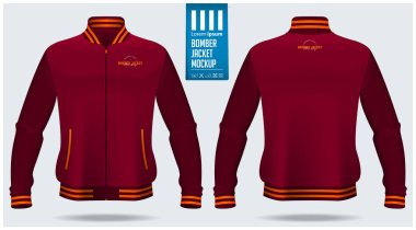 Zipped bomber jacket mockup template design for soccer, football, baseball, basketball, sports team or university. Front view and back view for jacket uniform. Vector Illustration. stock vector