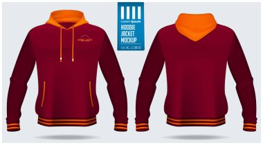 Hoodie jacket mockup template design for soccer, football, baseball, basketball, sports team or university. Front view and back view for jacket uniform. Vector Illustration. stock vector