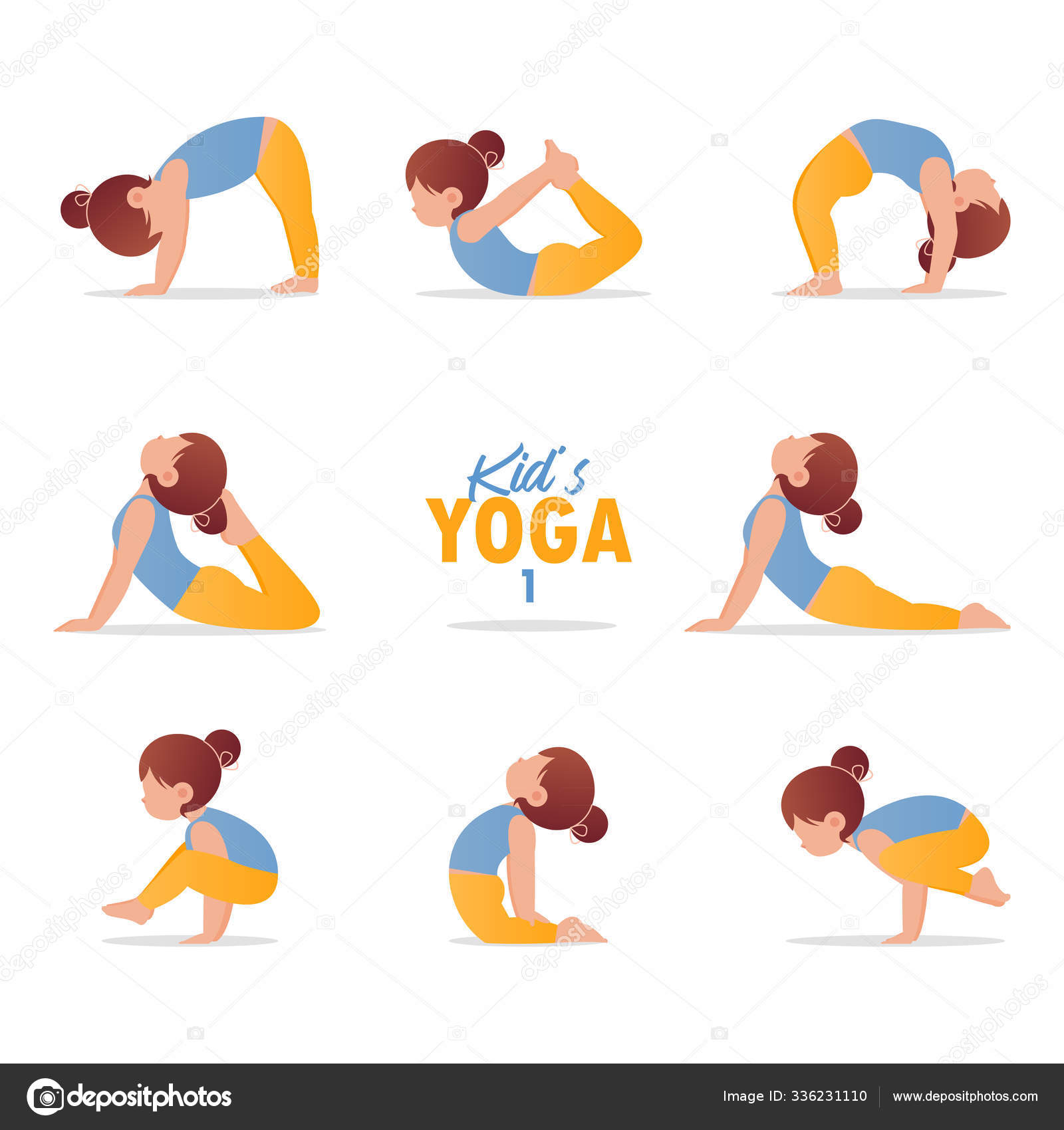 Kids Yoga Set Gymnastics For Children And Healthy Lifestyle Cartoon Kids In Different Yoga Poses Vector Art And Illustration Stock Vector C Tond Ruangwit Gmail Com 336231110