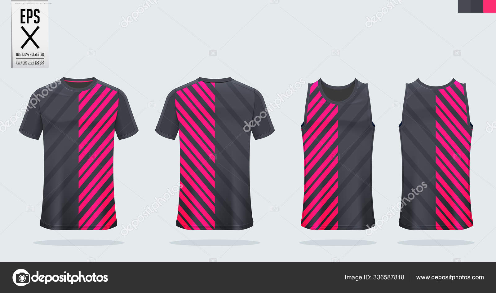 Black Pink T Shirt Sport Mockup Template Design For Soccer Jersey Football Kit Tank Top For Basketball Jersey And Running Singlet Sport Uniform In Front View And Back View Vector Stock Vector C