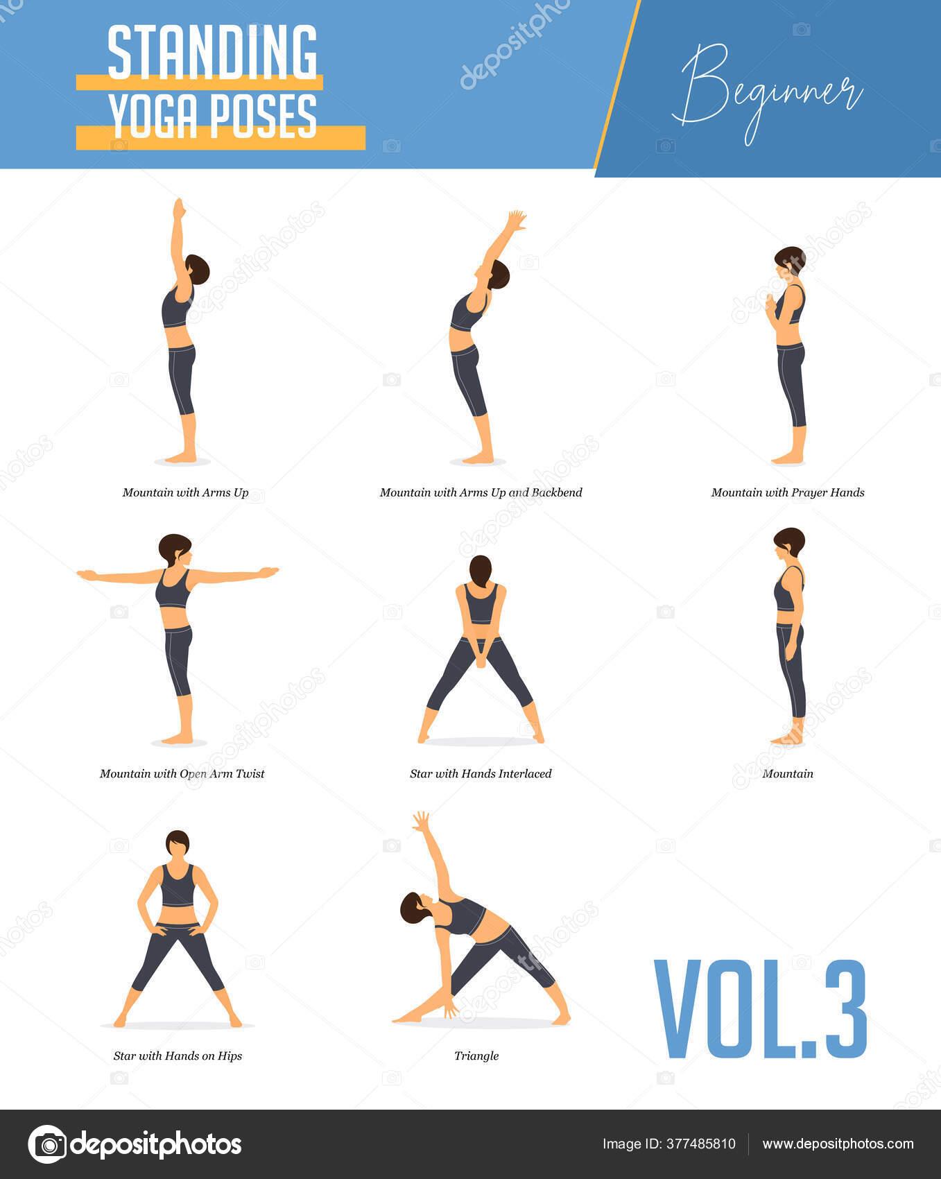 Set Yoga Poses Concept Balancing Standing Poses Flat Design Style ...