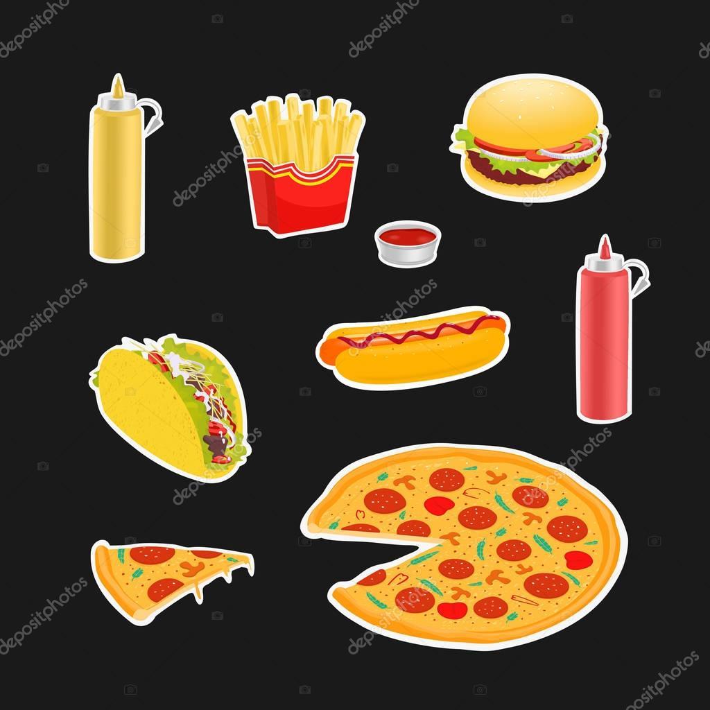Set Symbols Fast Food Vector Illustration Stock Vector Bakalavar