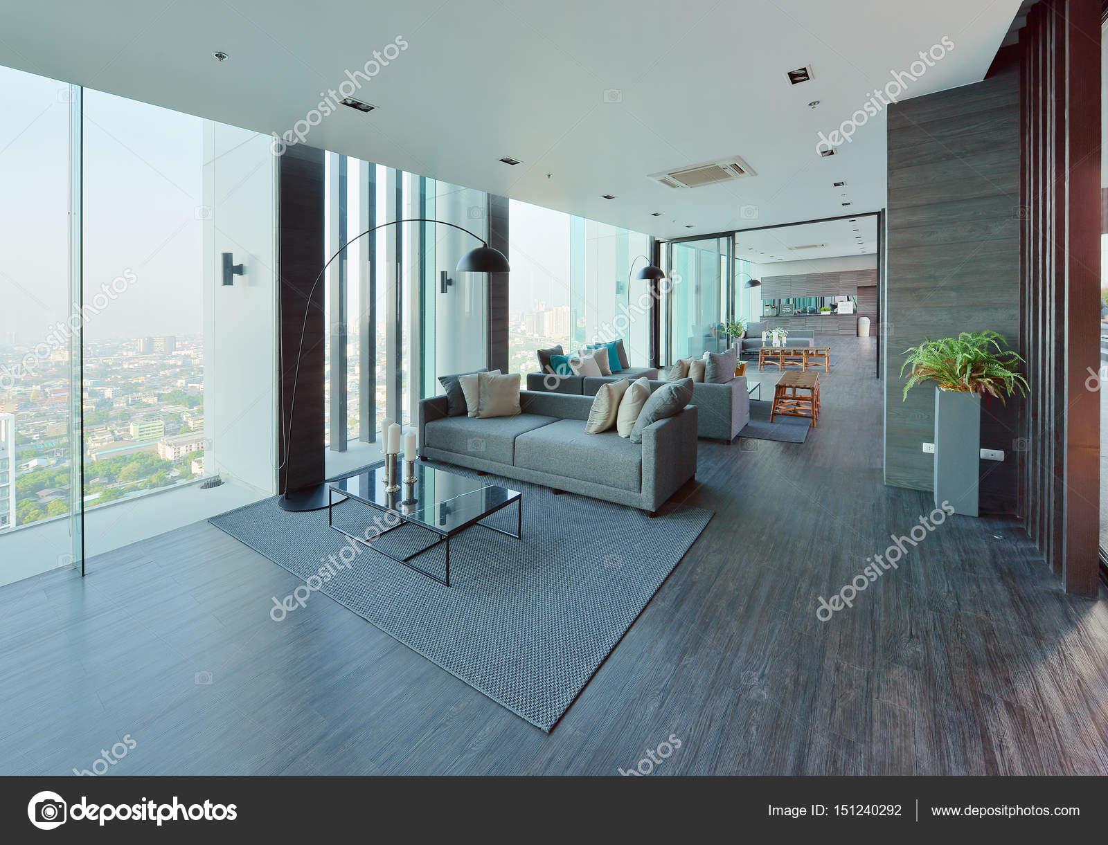 Un habitacle de salon moderne et décoration, intérieure desi ...