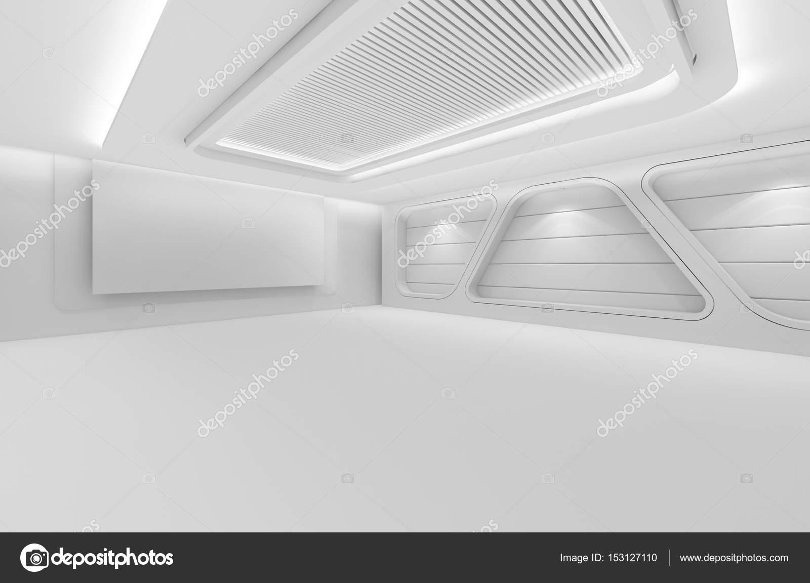 Futuristische leerer Raum, 3d Render-Innenarchitektur, weiße Mock up ...