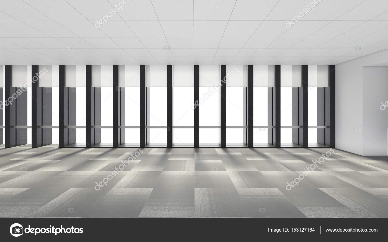 leerer raum im b ro mit windows 3d render interieur stockfoto tampatra 153127164. Black Bedroom Furniture Sets. Home Design Ideas