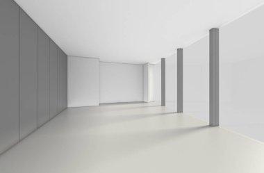 Modern Empty Room, 3d render interior design, mock up illustrati