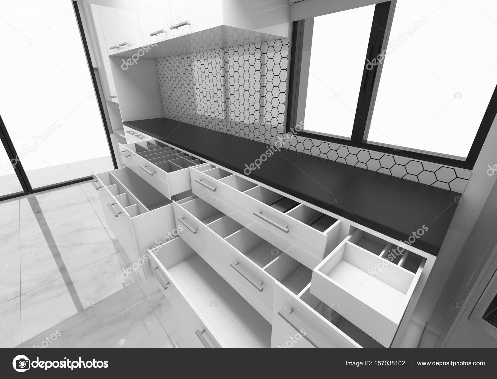 Aprire idee armadi cucina, progettazione di concetto 3d rendering ...