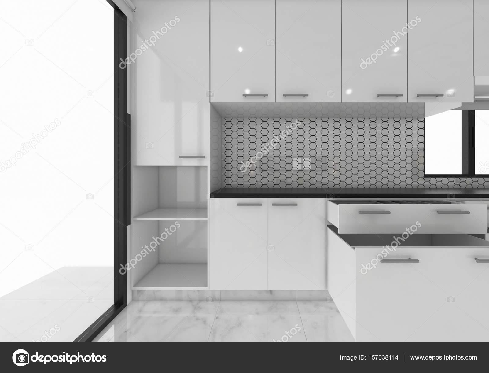 abrir ideas de cocina de gabinetes, diseño de concepto de maqueta de ...
