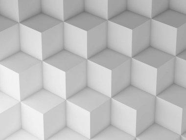 White Cubes pattern, 3d render illustration stock vector