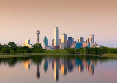 Reflection of Downtown Dallas City, Texas, USA