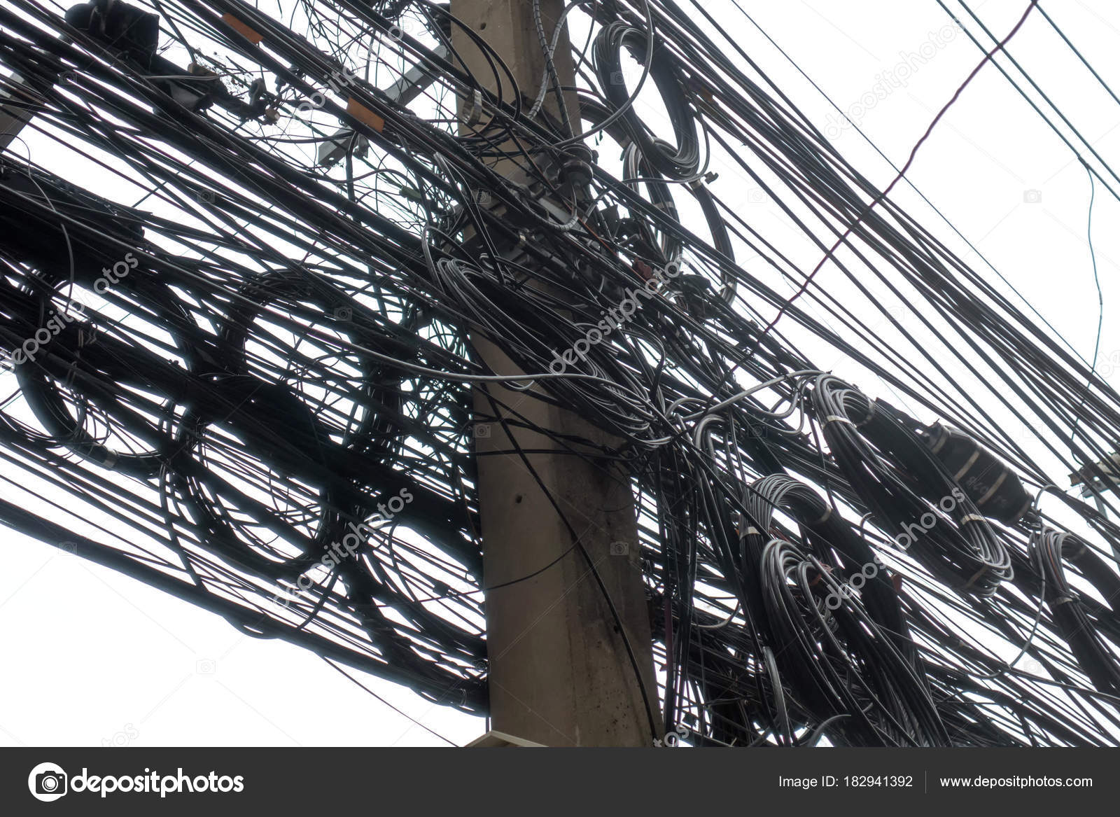 Messy Electrical Cables And Wires On Electric Pole Isolated Stock Photo C Tampatra Hotmail Com 182941392