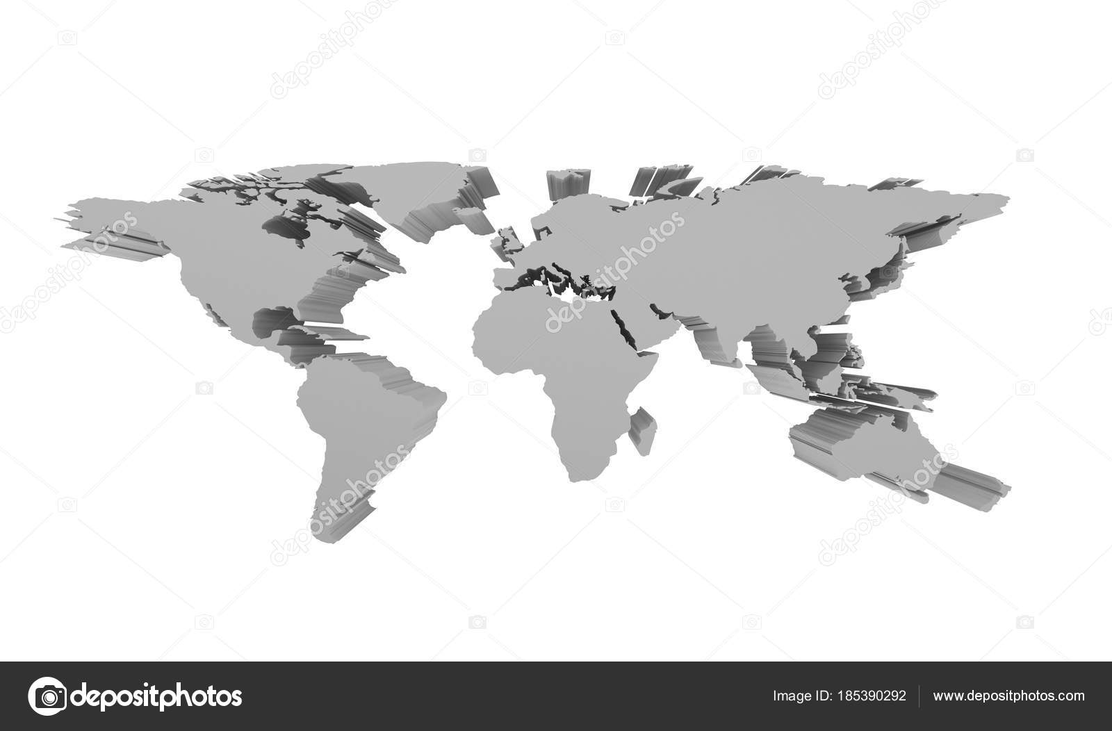 Grey political world map isolated on white 3d perspective illu grey political world map isolated on white 3d perspective illu stock photo gumiabroncs Choice Image