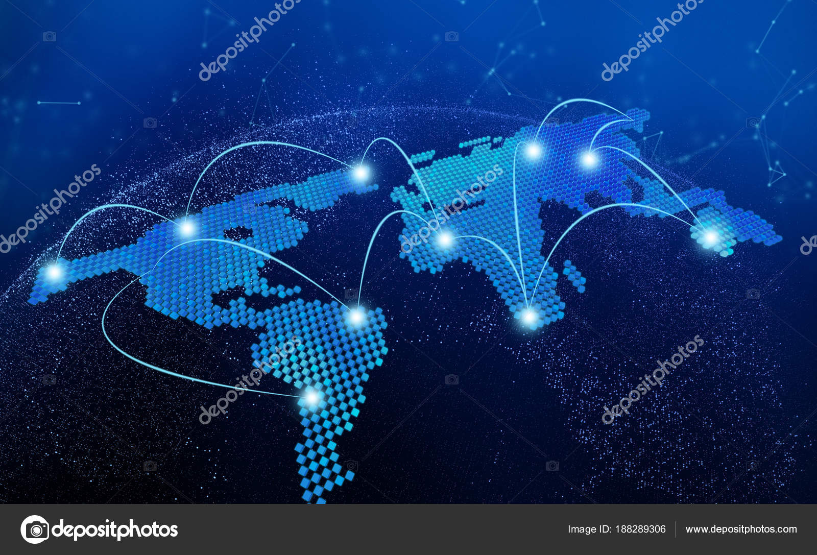 World map, connection lines in technology concept, 3d render — Stock