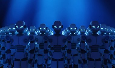 Group of robots on blue background, artificial intelligence