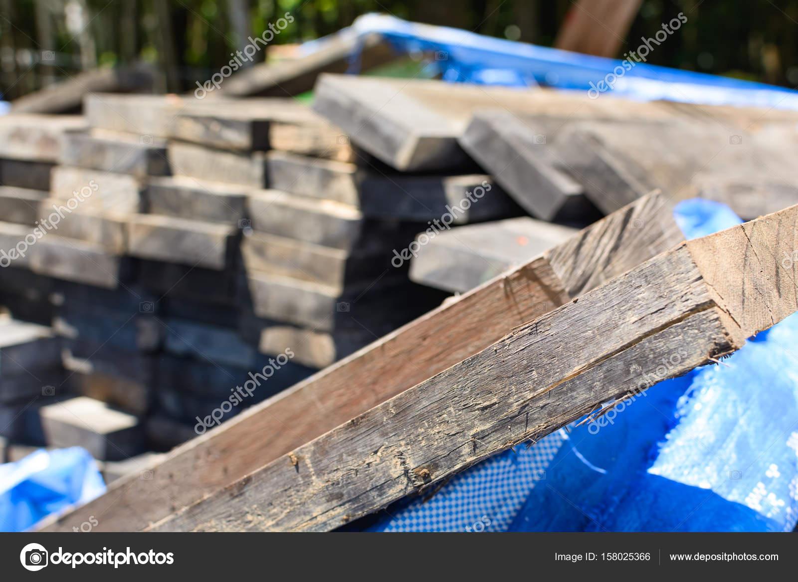 Stack Dickes Brett Für Den Brückenbau Mit Harten Holz Im Freien U2014 Stockfoto