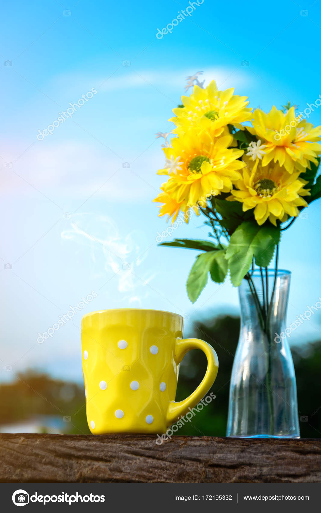 Good morning coffee and yellow flower vase stock photo good morning coffee and yellow flower vase stock photo mightylinksfo