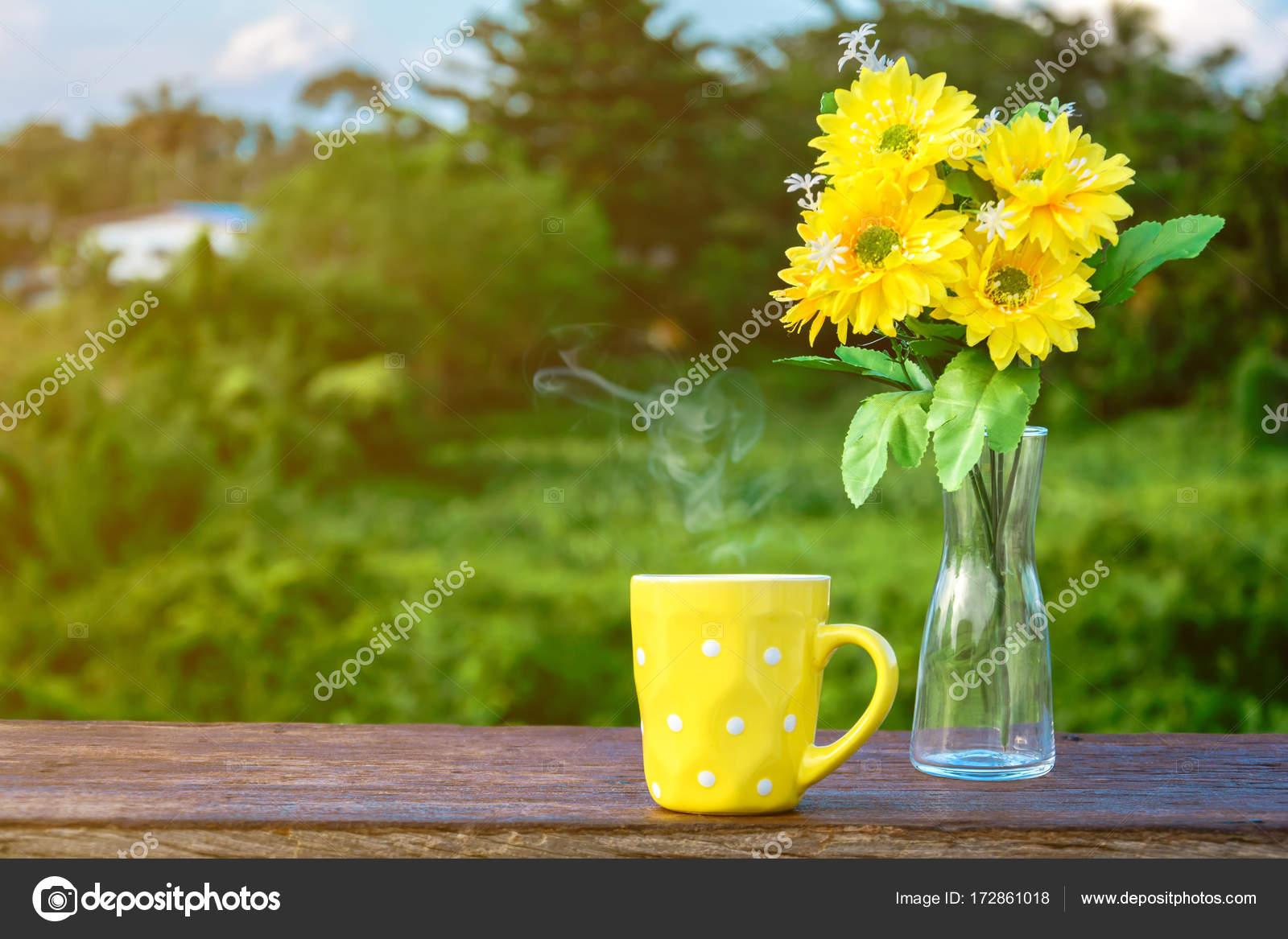 Good morning coffee and yellow flower vase stock photo good morning coffee and yellow flower vase stock photo mightylinksfo