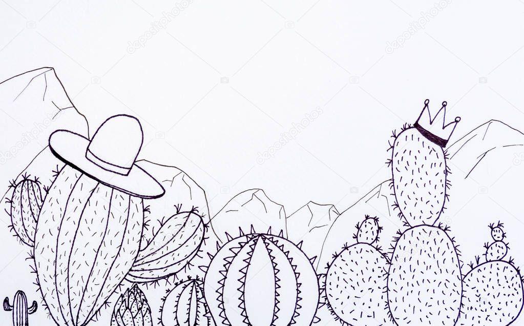 doodle cactus desing