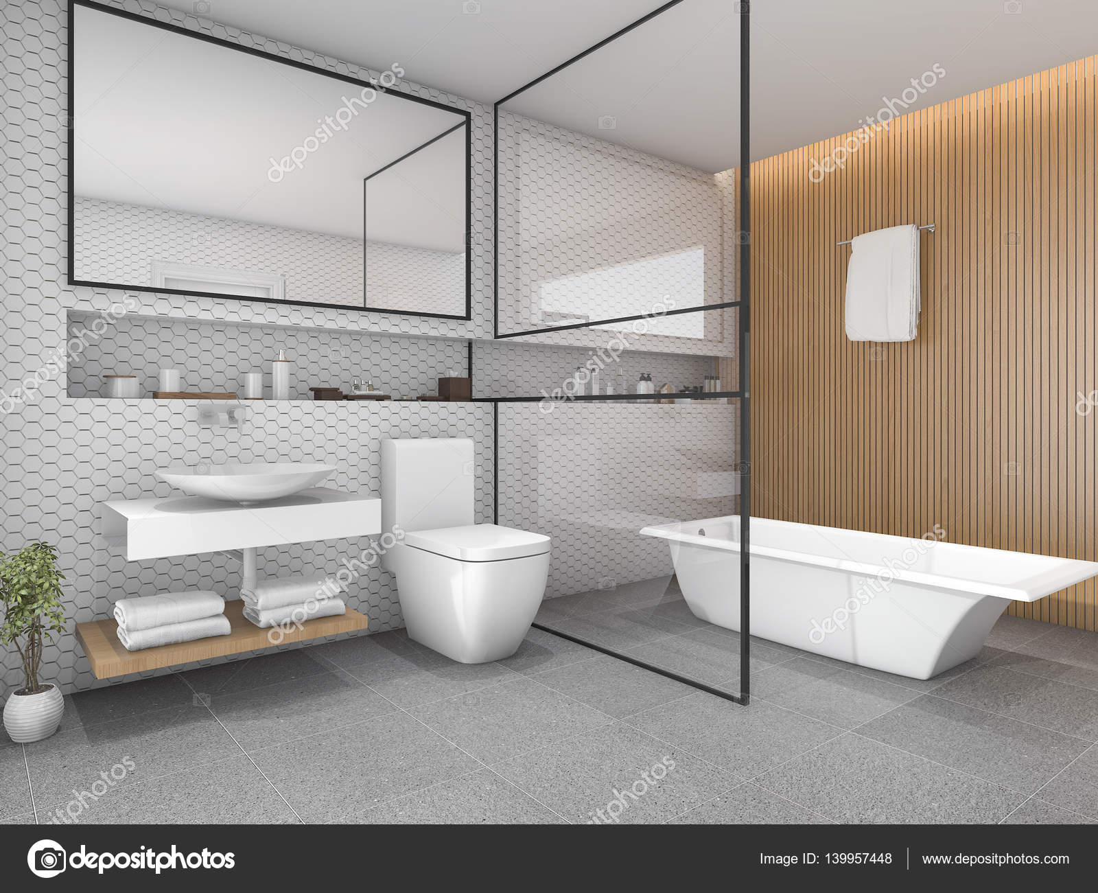 D rendering bianco esagono piastrelle bagno con arredamento in
