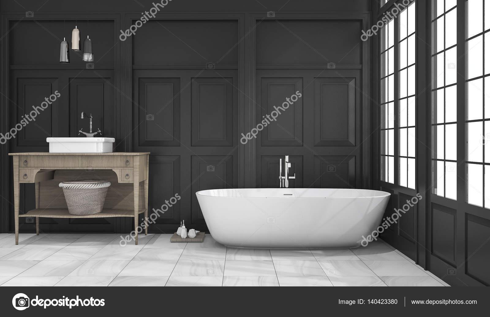 3D Rendering schwarz klassisches Bad und WC in der Nähe von Fenster ...