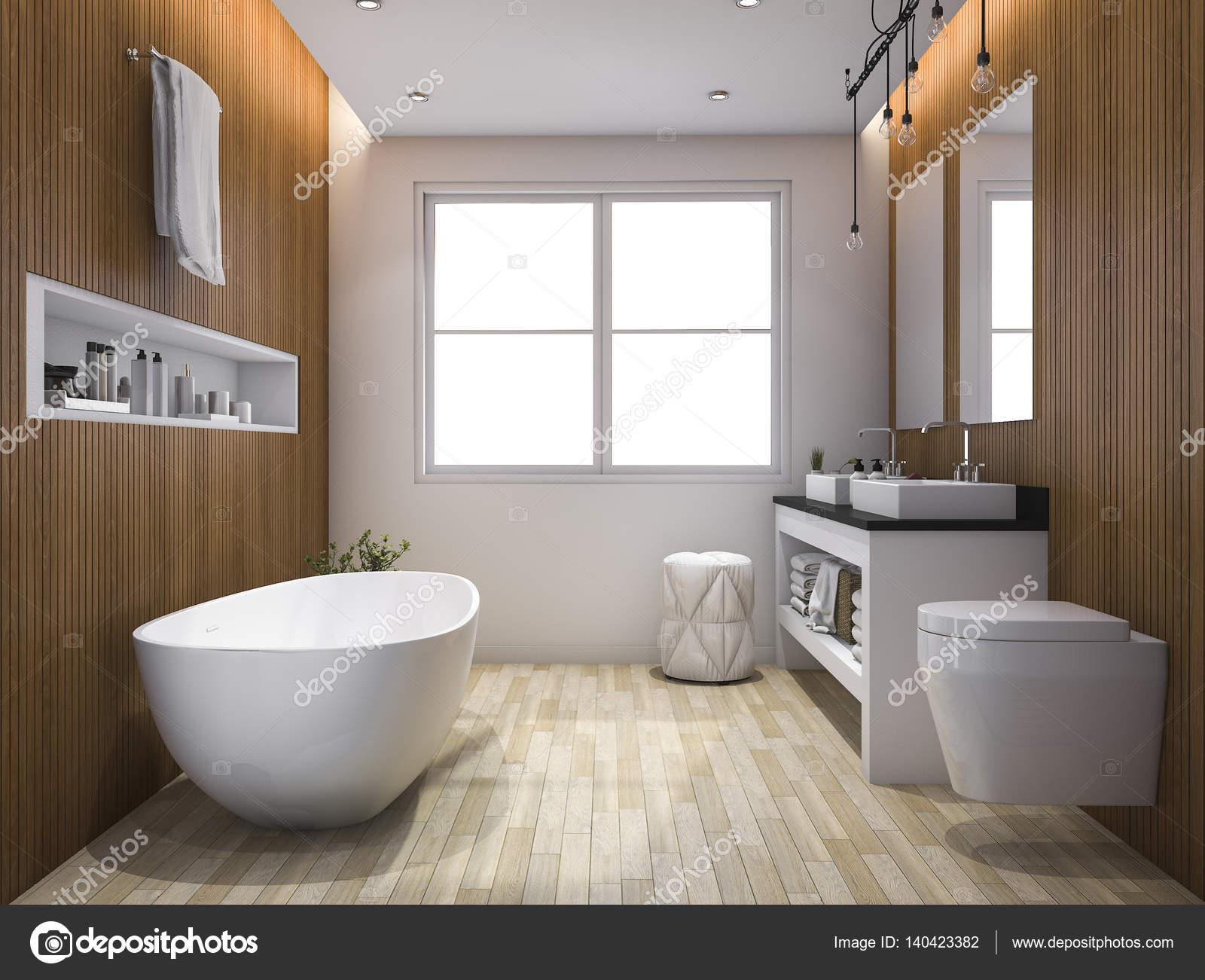 D rendering luxe houten stijl badkamer en toilet u stockfoto