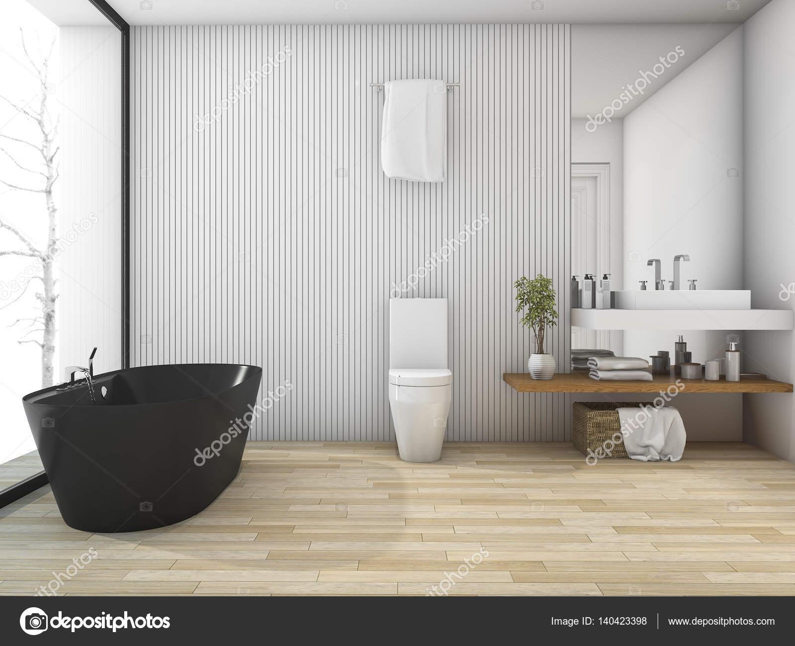 3D rendering wit hout badkamer in de buurt van venster in de winter ...