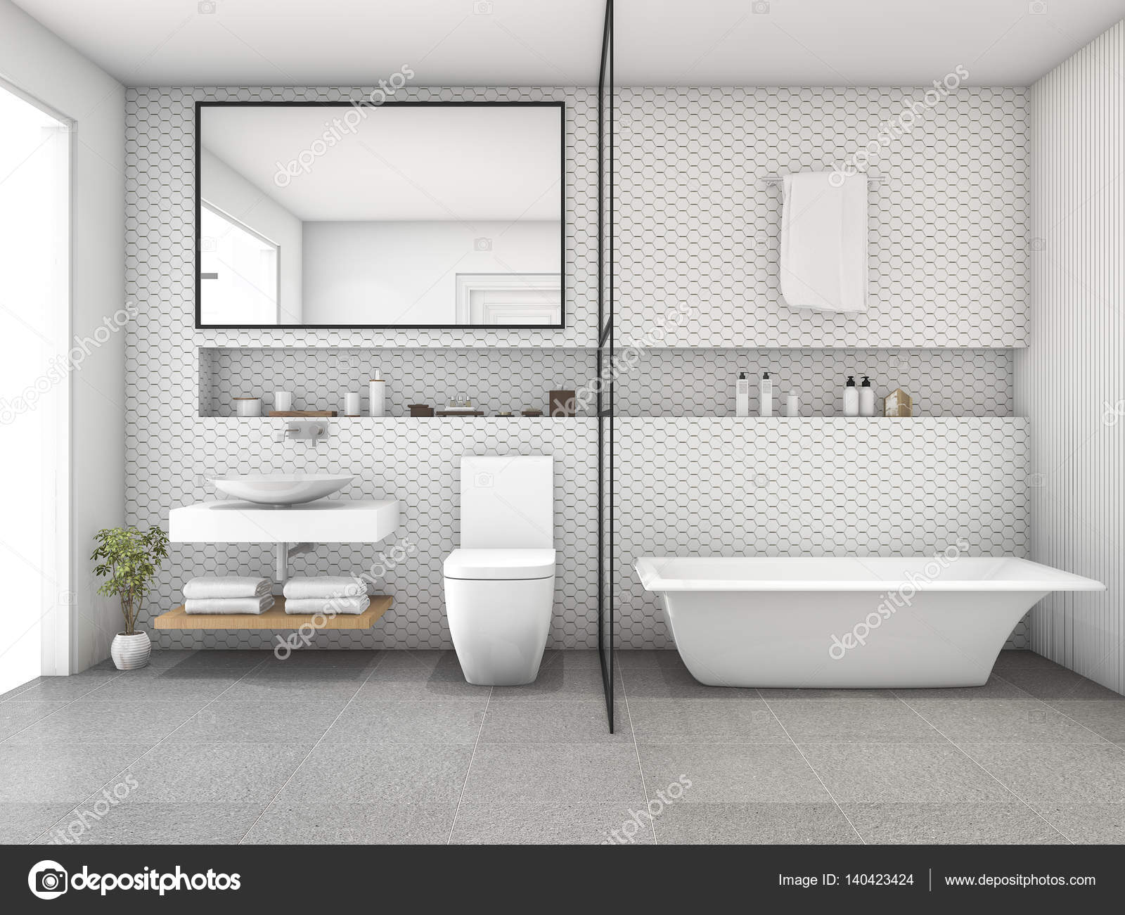 3d rendering white hexagon tile modern bathroom — Stock Photo ...