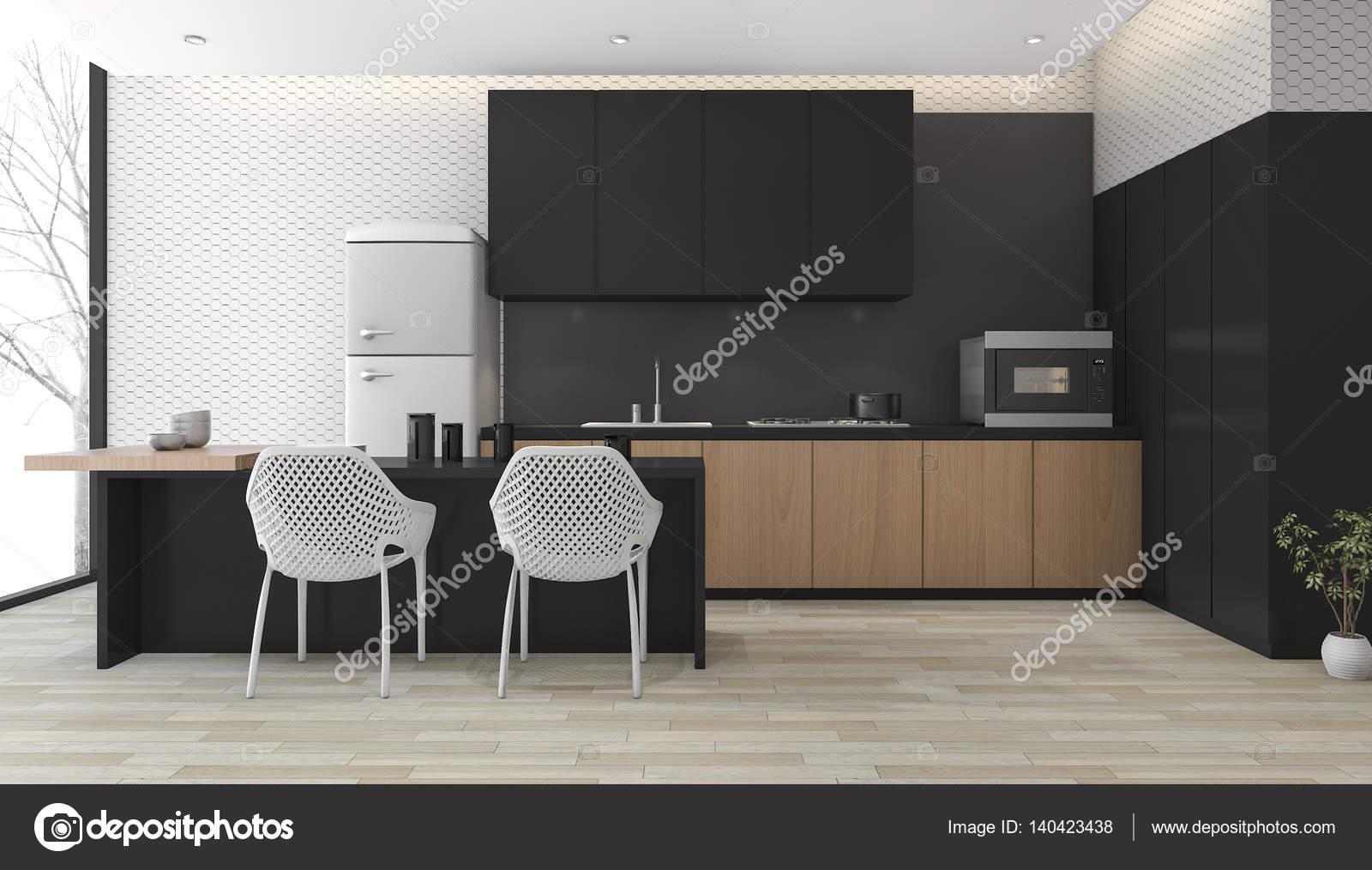 Strakke Zwarte Keuken : Moderne zwarte keuken