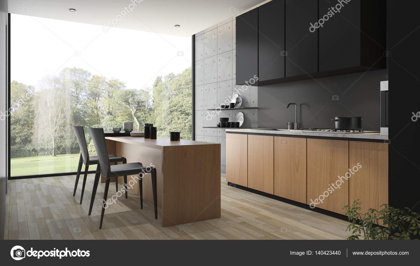 Moderne Zwarte Keuken : D rendering moderne zwarte keuken met gebouwd in hout u stockfoto