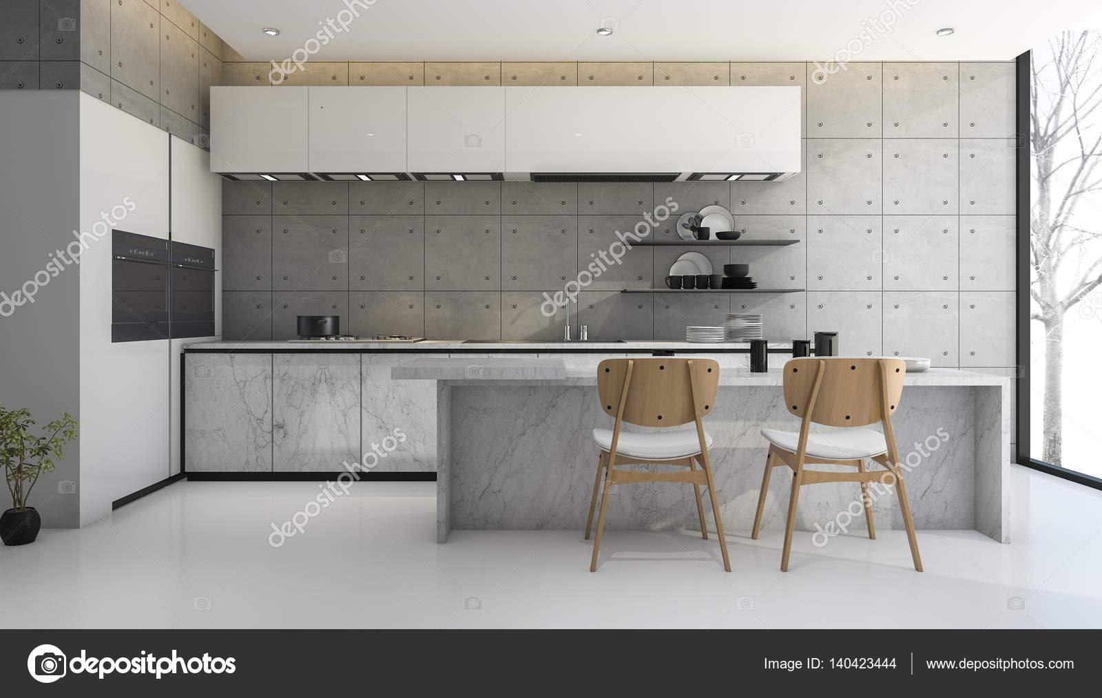 loft de representación 3D y moderna cocina concreto — Foto de stock ...