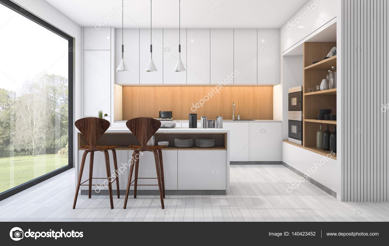3D Rendering weiße moderne Küche mit bar in der Nähe von Fenster ...
