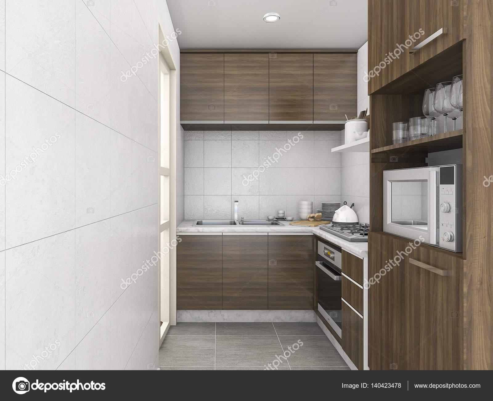 3D Rendering Laminat Hochglanz Küche mit vielen Zubehör ...