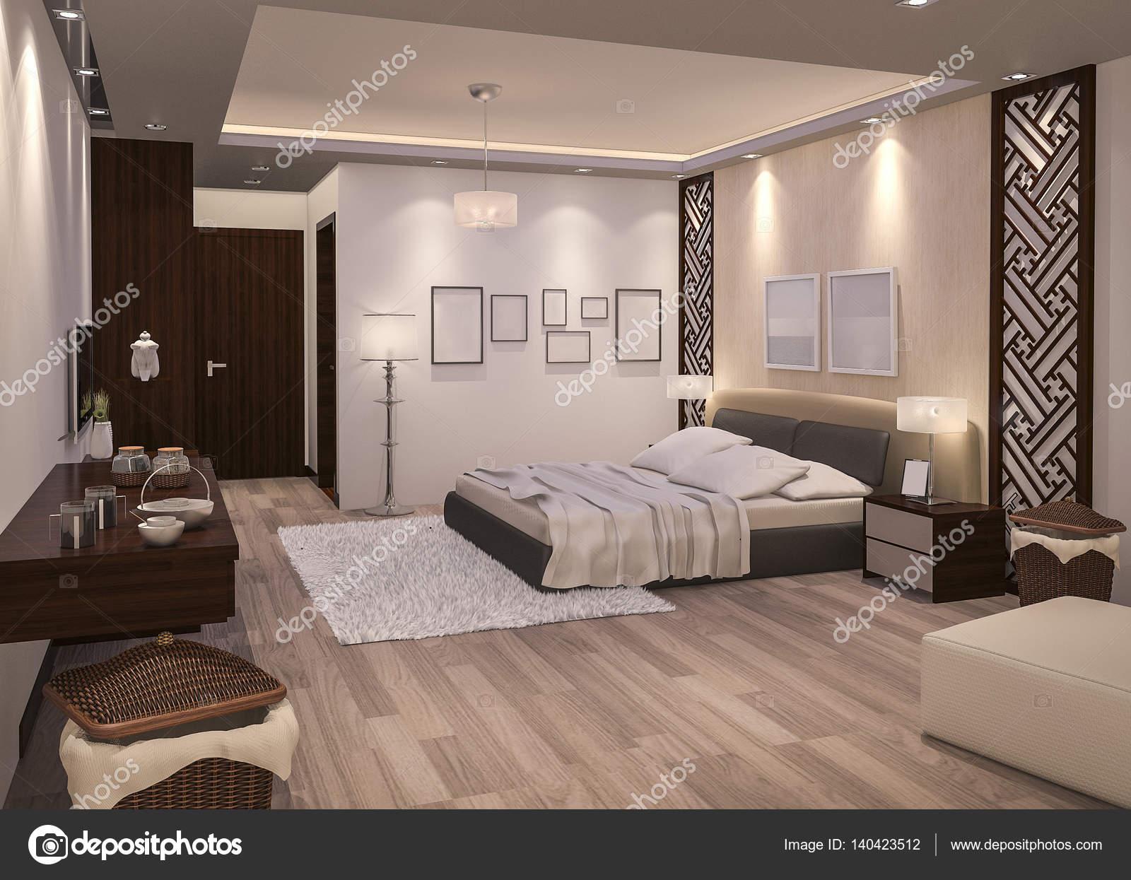 camera da letto notte di rendering 3D con pavimento in parquet ...