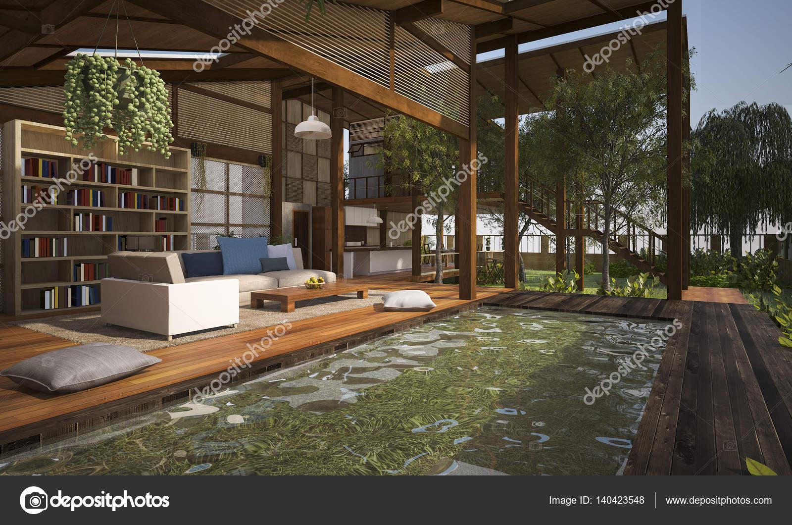 D rendering eigentijds hout wonen terras en lounge met zwembad