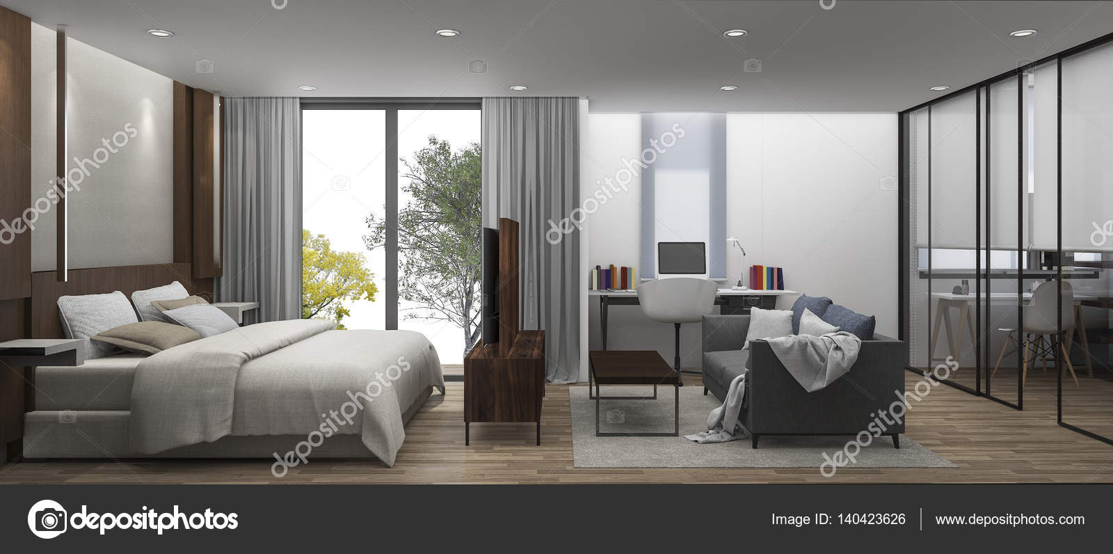 3D rendering camera da letto con cabina armadio — Foto Stock ...