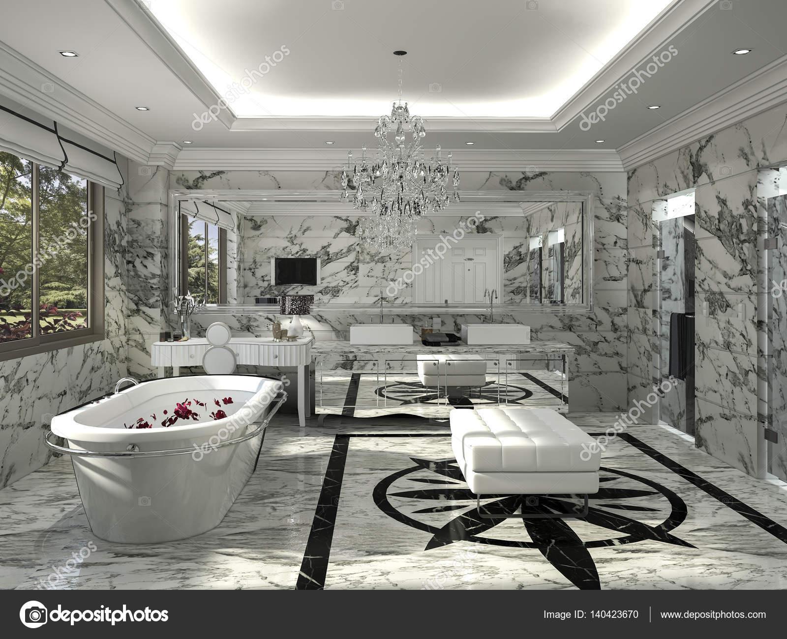 3D Rendering klassische Badezimmer mit schönen Marmor Dekoration ...