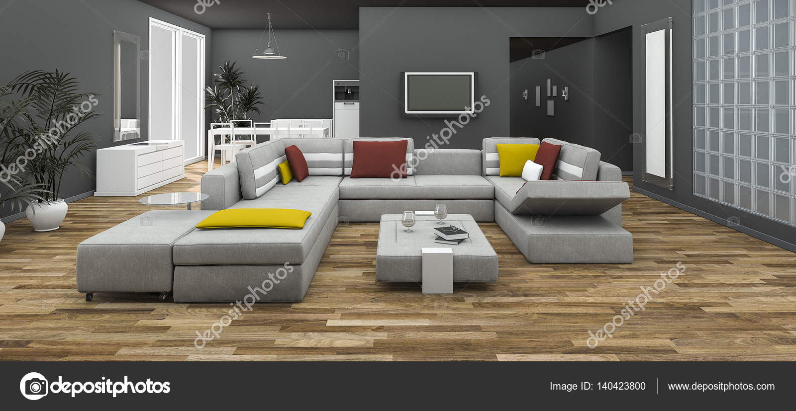 Wondrous 3D Rendering Colorful Sofa Set With Loft Style Room Stock Inzonedesignstudio Interior Chair Design Inzonedesignstudiocom