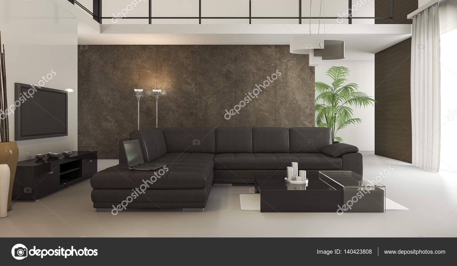 3D Rendering Loft Braune Tapeten Wohnzimmer Mit Tageslicht U2014 Stockfoto