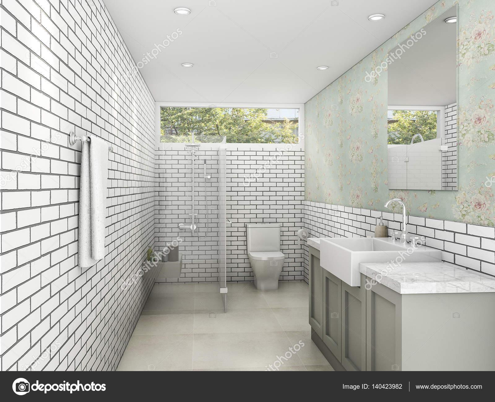 3D rendering witte bakstenen stijl met behang badkamer en toilet ...