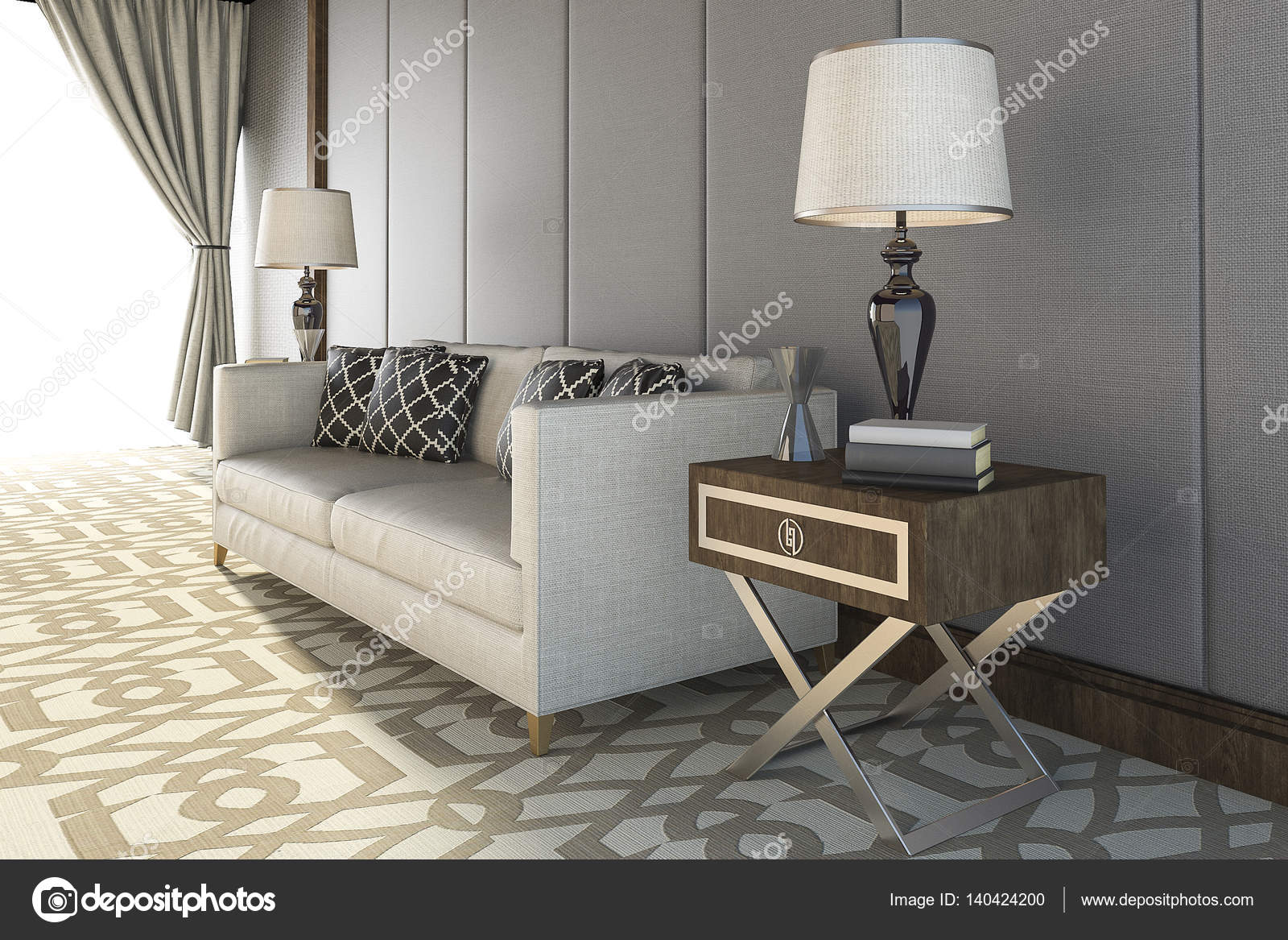Fine 3D Rendering Beautiful White Sofa With Nice Carpet In Living Pdpeps Interior Chair Design Pdpepsorg