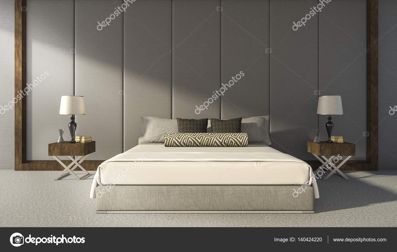 3D rendering camera da letto bellissima parete grigio — Foto Stock ...