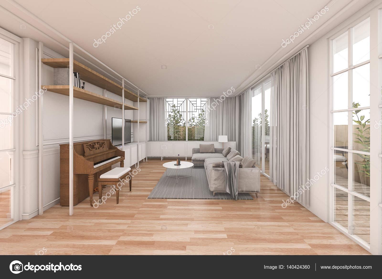 3D rendering mooie houten woonkamer met mooie meubels in wit huis ...