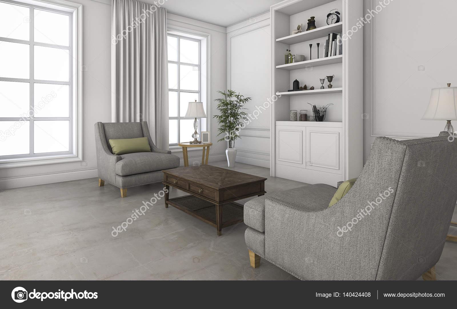 3D Render blanca pequeña sala de estar con cómodos muebles — Fotos ...